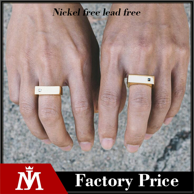 Stainless steel gold men blank ring