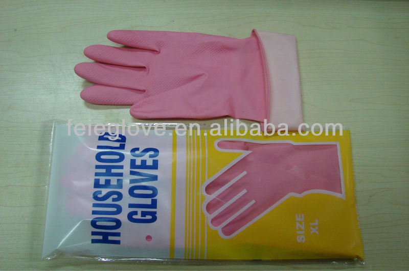 40g cheapest beautiful Household rubber Gloves washing Dip flocklined household Latex Gloves