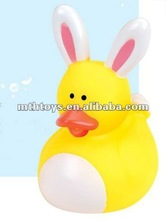 fun baby bath toy 6cm rabbit ear swimming rubber duck