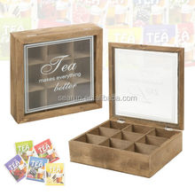 Antique Wooden Tea Box 9 Compartments Hinged Glass Lid Tea Bag Home Kitchen Storage Box