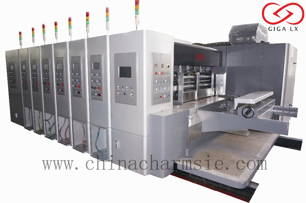 LX-308N New one color / multicolor flexo printing machine with three die cutting and slitting stations for sale