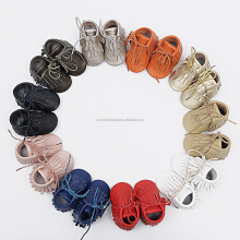 Wholesale Baby First Walkers Toddler Winter MoccasinsTassel Shoes Boots Lace Up Leather Baby Shoes