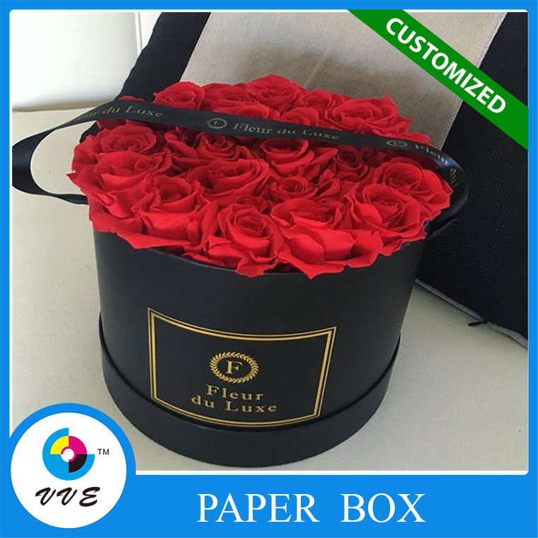 Custom round cardboard hat fresh flower paper packing boxes hot stamping printing for wedding
