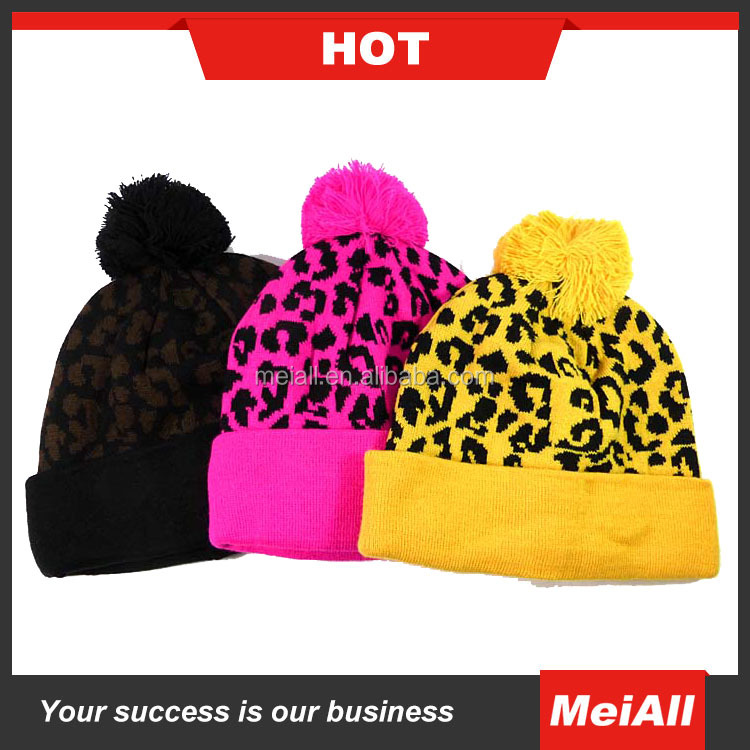 2016 new design Knit pattern ear flaps knitting hat with your own logo knitted hats beanie hats