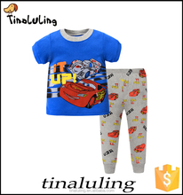 Summer 2016 new cartoon kids pajamas printed short sleeve t-shirts and trousers wholesale clothing kids wear pajama
