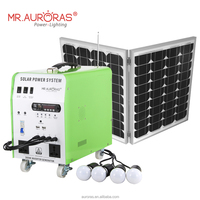 With solar panel and light solar complete kit solar energy system