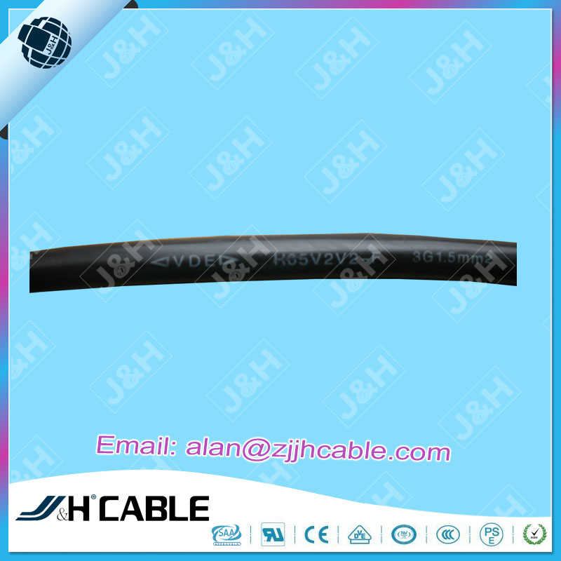 VDE Approved PVC Insulation Flexible Power Cords H05V2V2-F