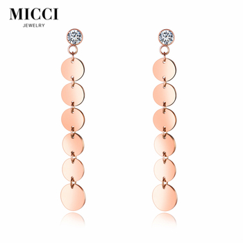 Wholesale custom stainless steel jewelry new model round shaped long earrings for woman