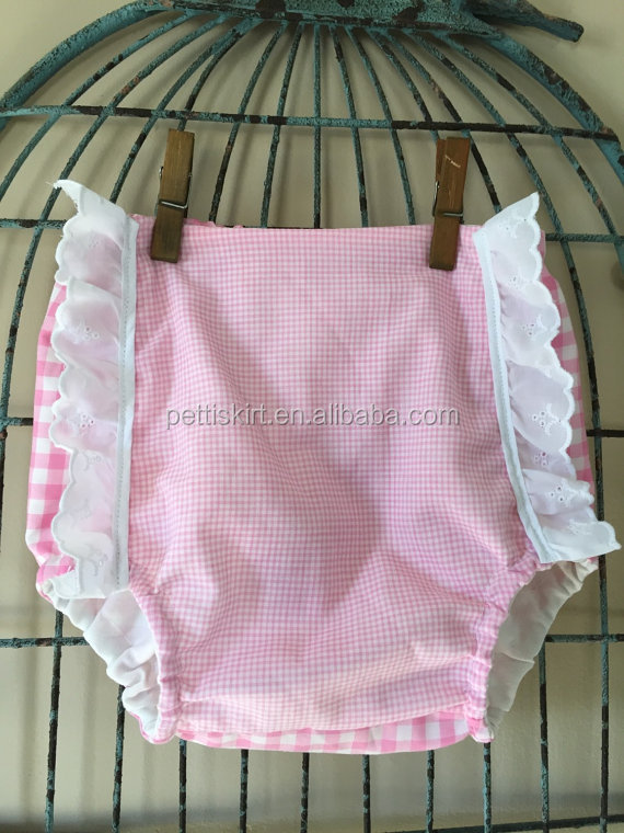 Cute! Infant Baby Girls Lace Bloomers Gingham Ruffle Panties Pink Bloomers