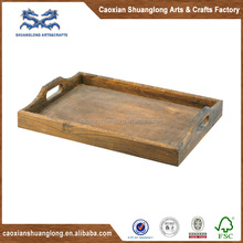 Rustic antique wood serving tray with handle