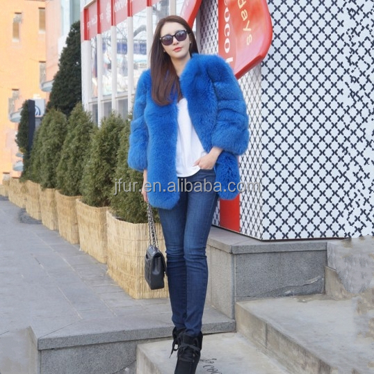 New Fashion Winter Woman Long Fur Coat & Black Fox Fur Jacket
