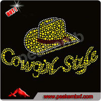 Hot Sale Rhinestone Cowgirl Belt Heat Transfer Vinyl Hotfix Designs for T-shirt