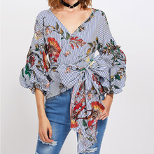Blusas Femininas 2017 Gathered Sleeve Mixed Surplice Wrap Printed Blouses For Women