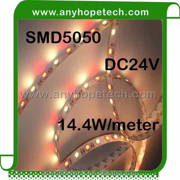 SMD5050 60 LED per meter 14.4W 24V RGBW LED Strip Lighting