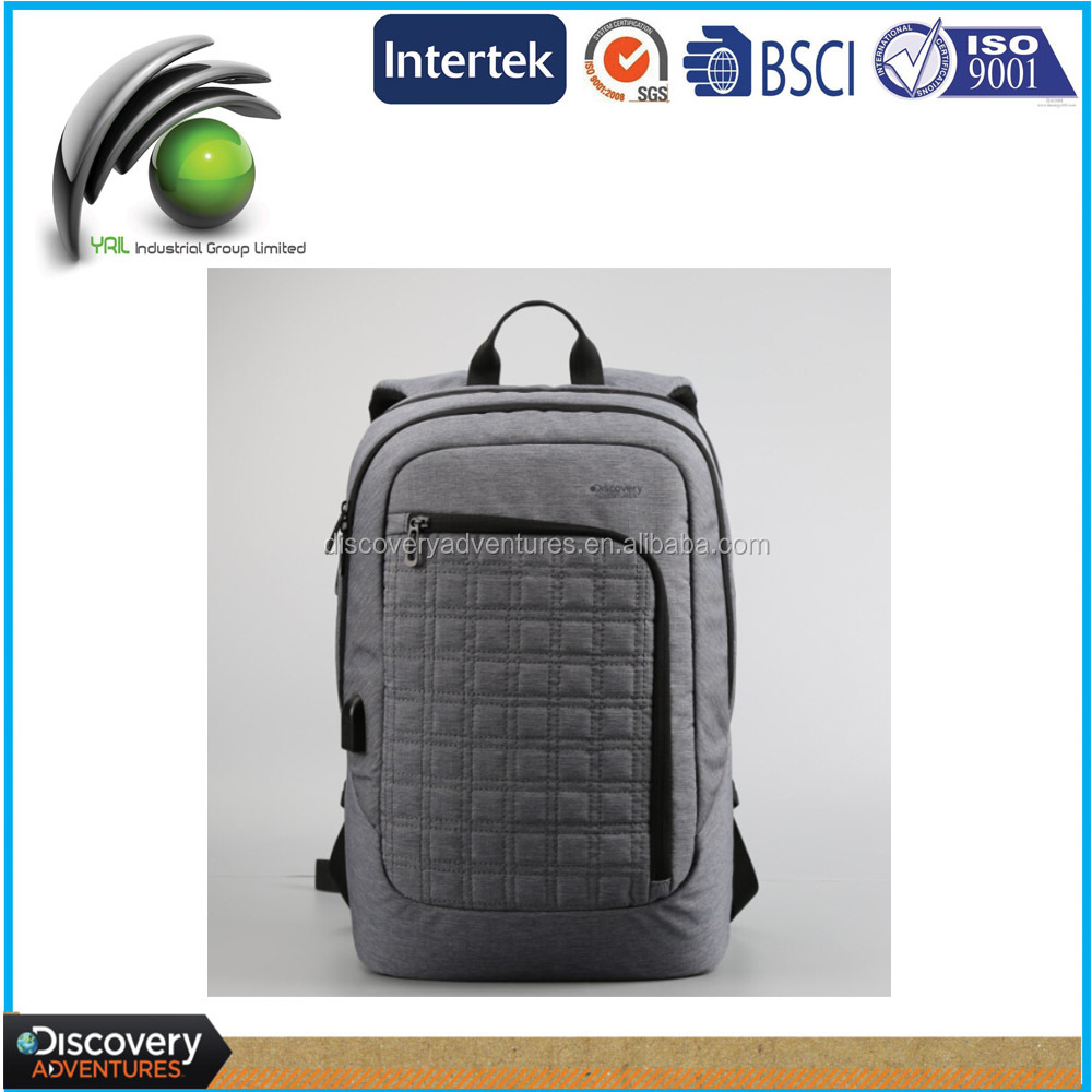 Hot selling fashionable design laptop bag classical pattern nylon USB port backpack