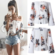 White floral lady off shoulder fashion shirt beautiful girl sexy women lady tube tops