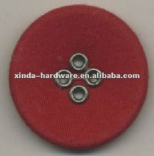 round shape red color brass eyelets big fabric covered four holes sewing button