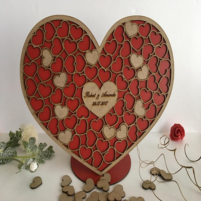 Personalized Wedding 3D Wood heart guest book