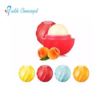 ball shaped natural fruit and flower extractive Moisturizing lip balm
