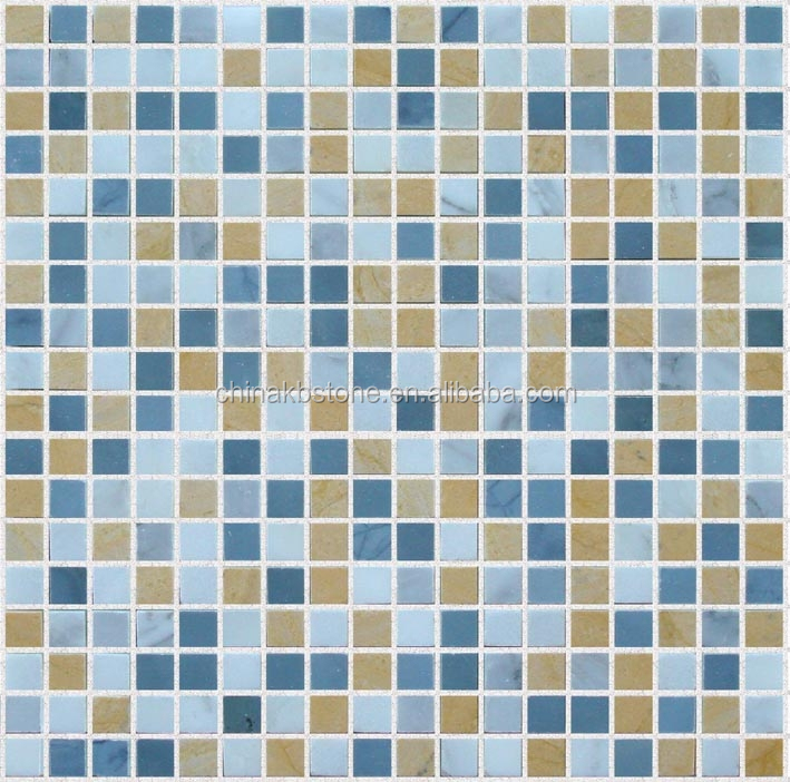 Blue Yellow Mixed Square Marble Mosaic Tile swimming pool tile size