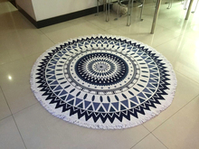 Brand New Large size 1500mm 100% Cotton factory stock Blue Mandala design round beach towel