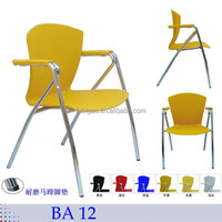 school training colorful plastic chair with metal legs student chair with writing board