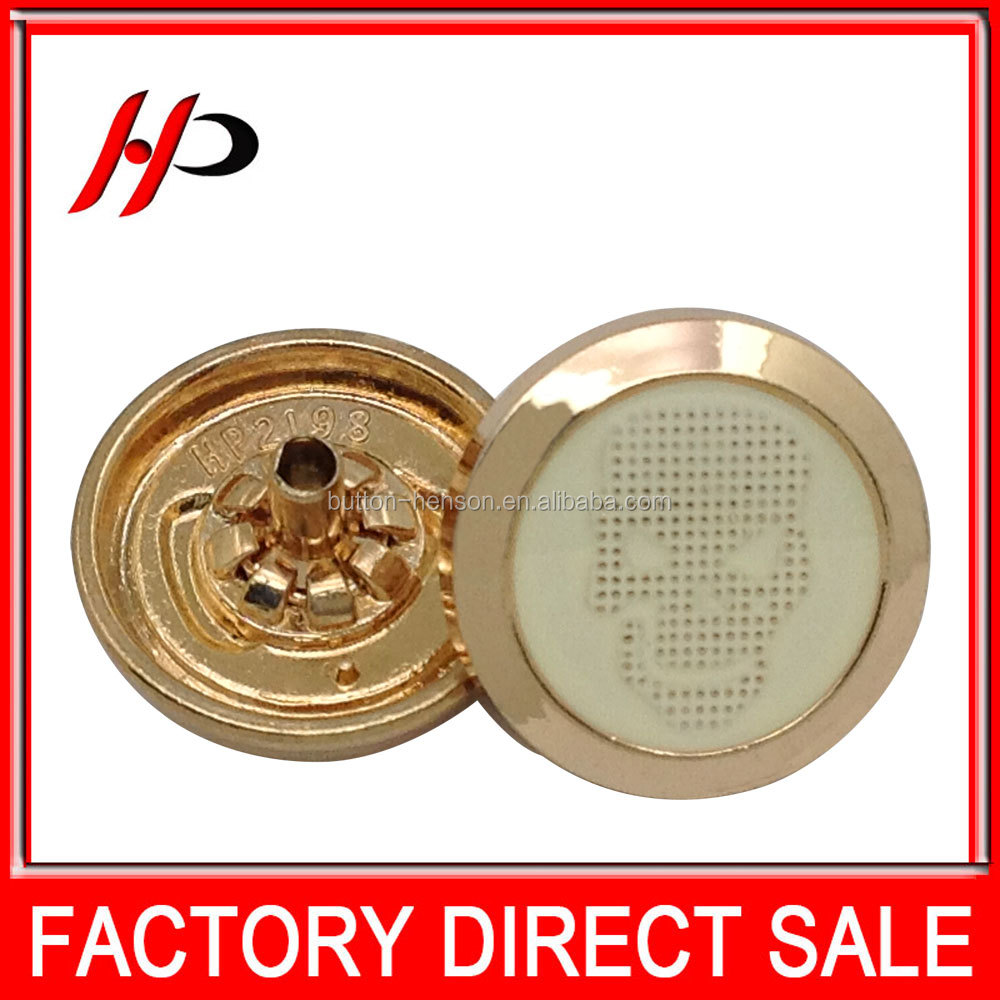 Custom OEM Factory gold 18mm metal alloy snap fashion skull button for clothing
