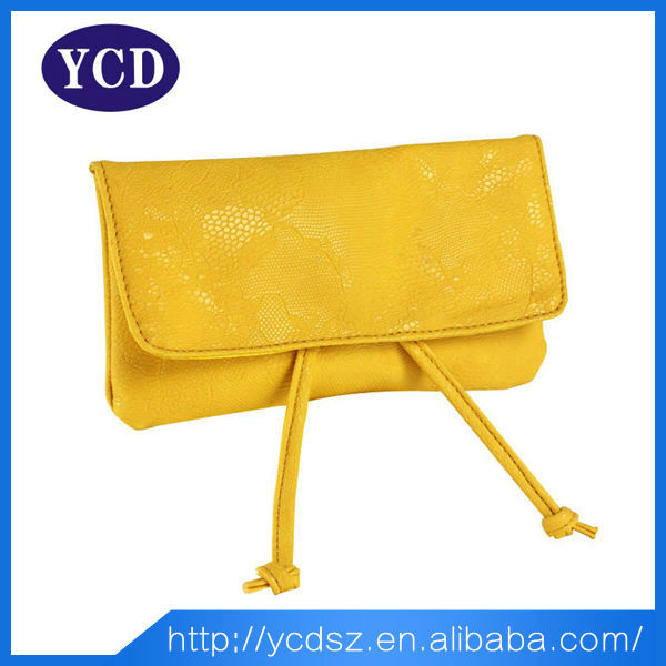 Shiny pvc yellow ladies brand purse and bags