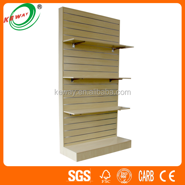 wooden slat wall display shelf for retail shop