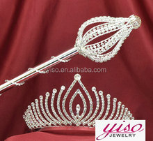 full pageant round crowns hot selling fashion queen tiaras & wand set