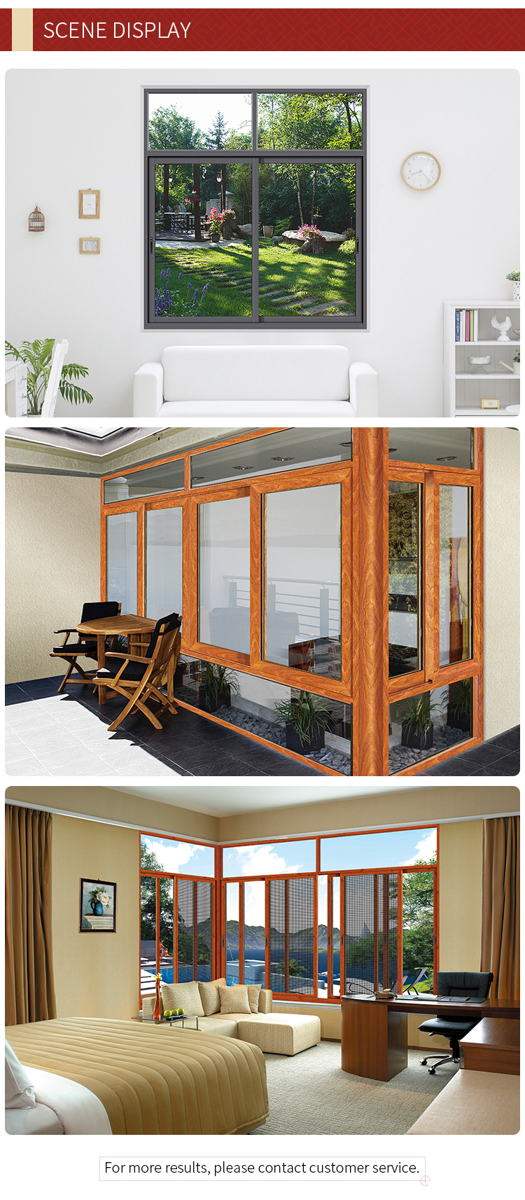 design high quality aluminium horizontal sliding window
