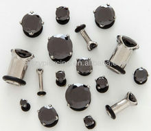 prong set jett black CZ 316L stainless steel body ear piercing plug stud jewelry