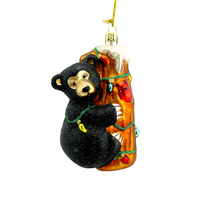 Personalized hanging Glass Blown Black Bear Cub Hugging Tree Statue ornament for Christmas Tree Gift