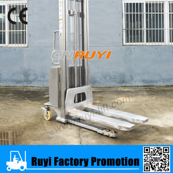 2T mini type stainless steel electric warehouse forklift/pallet stacker