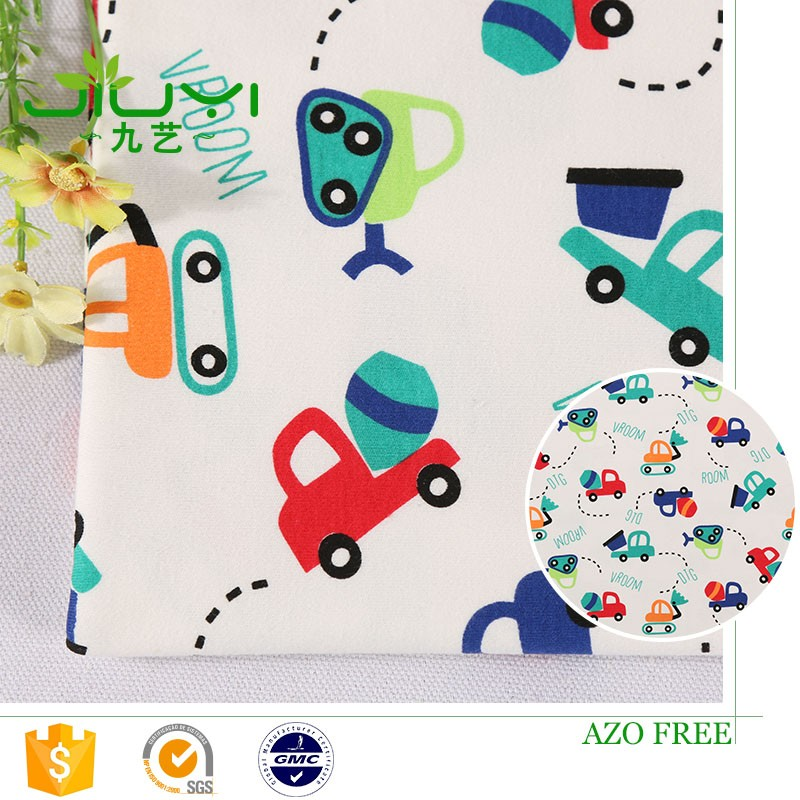 wholesale cheap custom print cartoon car knit 100% cotton fabric