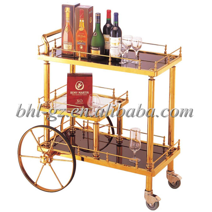 wholesale hotel trolley 3 tier mobile rolling bar cart restaurant glass beverage cart golden liquor trolley <strong>C1</strong>