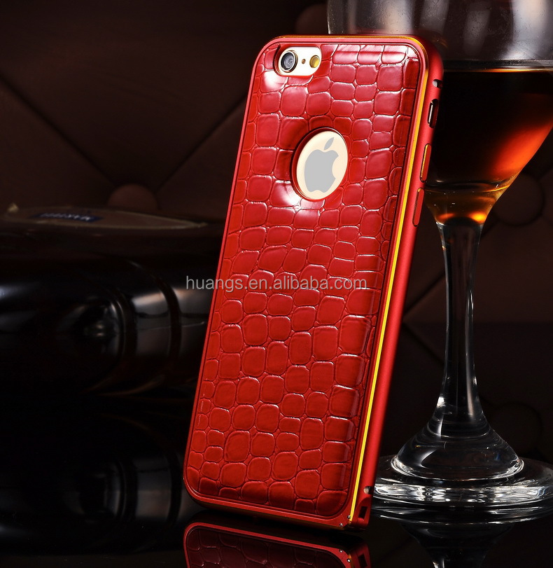 Cell phone accessory ultra thin metal bumber crocodile leather back case mobile phone case for iphone 6s wholesale