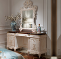 Solid wood bedroom furniture antique white color dressing table with mirror