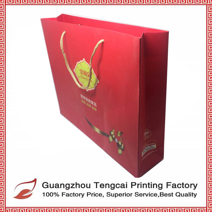 2016 customized full color printing art paper made OEM shopping bag