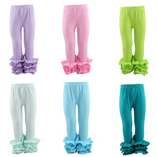 2017 Latest deisgn cotton ruffles long pants baby girls solid colorful kids children girls' wholesale Ruffle Icing Pants