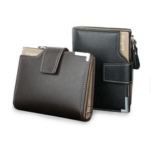 Cheap Baellerry short design trifold pu leather wallet for young man