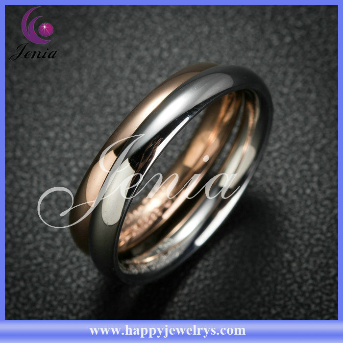 Couple design couple ring 18k gold plated 316l stainless steel gold ring price (DSR016)
