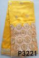 Yellow nigerian george beaded george fabric sequins raw silk george fabric