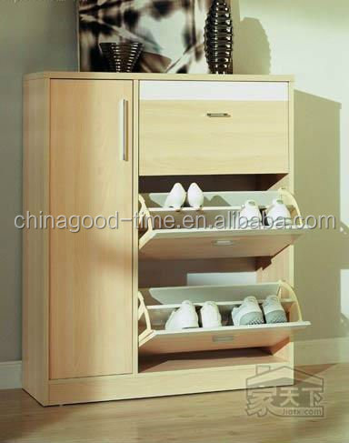 European style light color wooden shoe cabinet