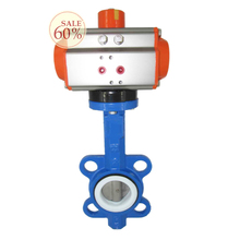 DN200 water treatment pneumatic actuator wafer connection type pneumatic butterfly valve D671F