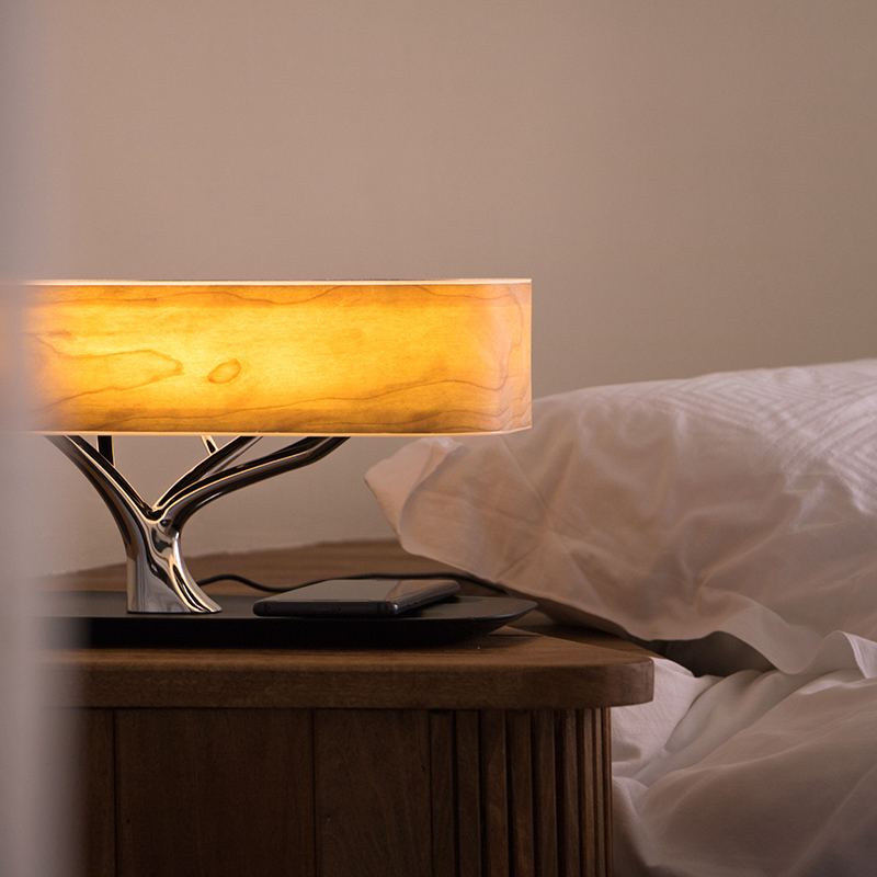 Hotel rechargeable smart wooden led <strong>touch</strong> desk lamp music model with wireless charger and bluetooth speaker