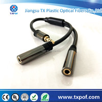 Foil Shielding and Stereo Connector Type 3.5mm Headphone Stereo Audio Y Splitter aux Cable 1 male to 2 female