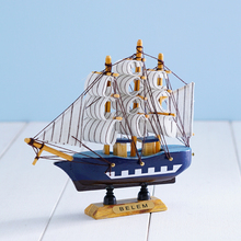 Handmade wooden craft sailing boat ship model home decor