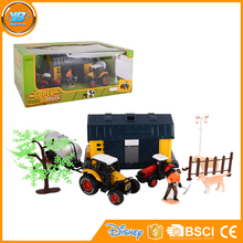 Yibao child plastic farm diecast tractor and house set toy with cattle