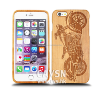 New pattern with Motorbike wooden cell phone case for iphone case 6 with 100% natural Wood